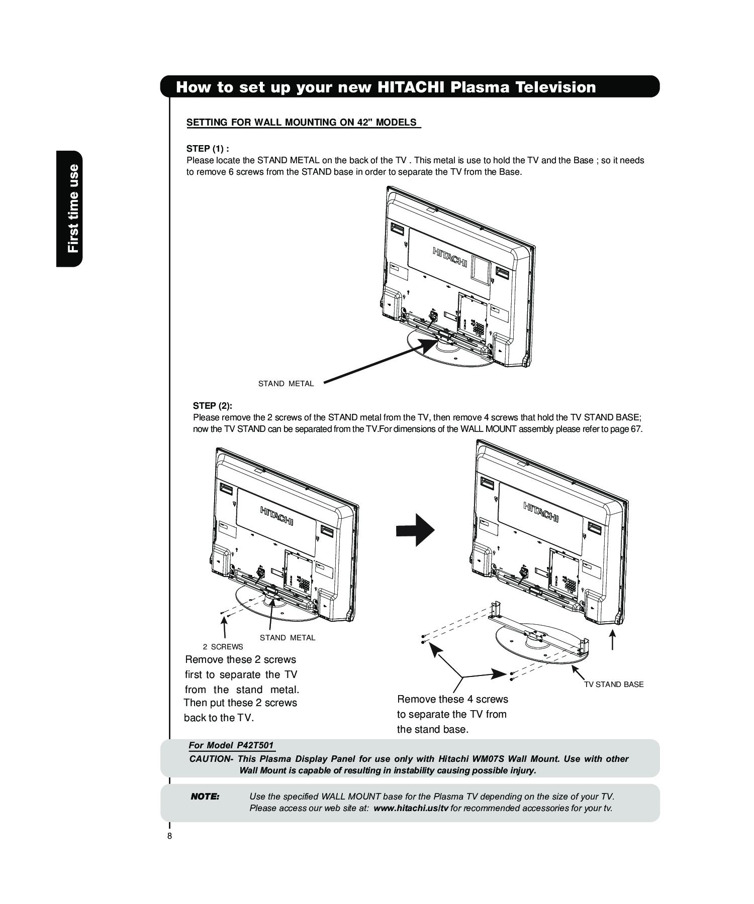 Hitachi P50t501 P55t551 User Manual