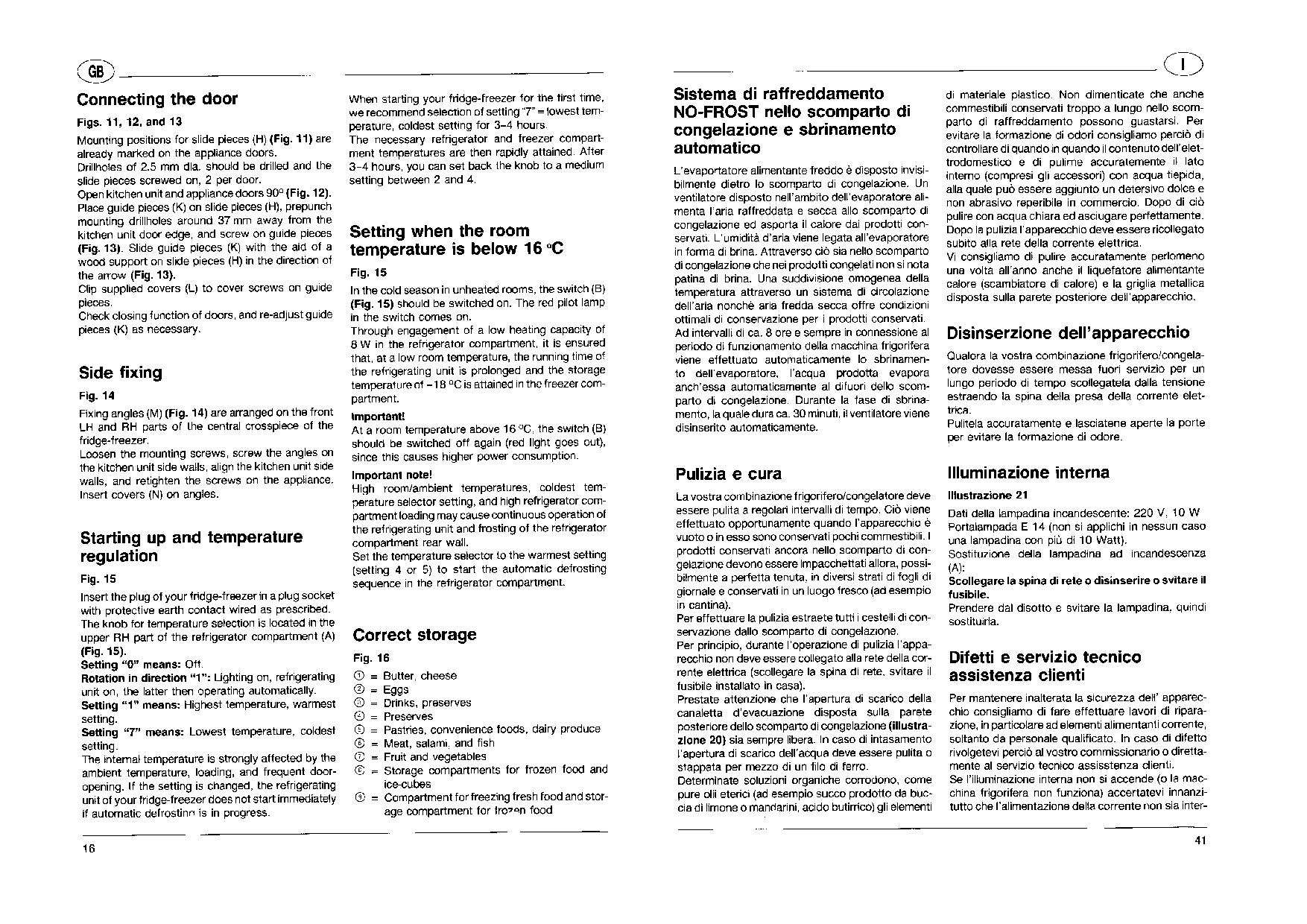 Aeg Assistenza Clienti.Aeg Electrolux S 3049 I No Frost User Manual