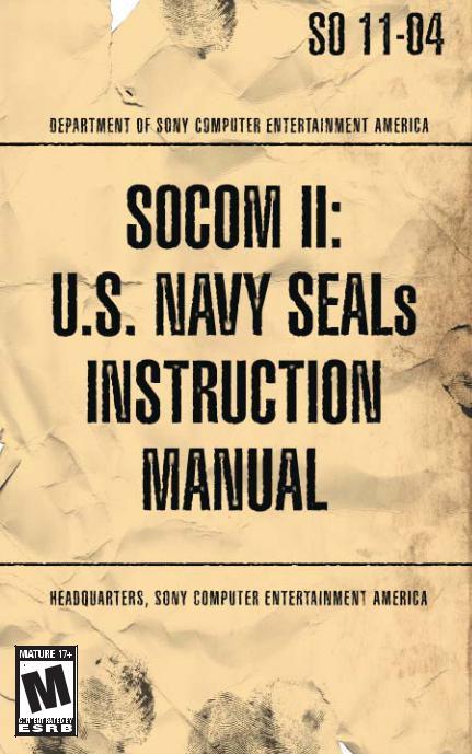 Games PS2 SOCOM II-US NAVY SEALS User Manual