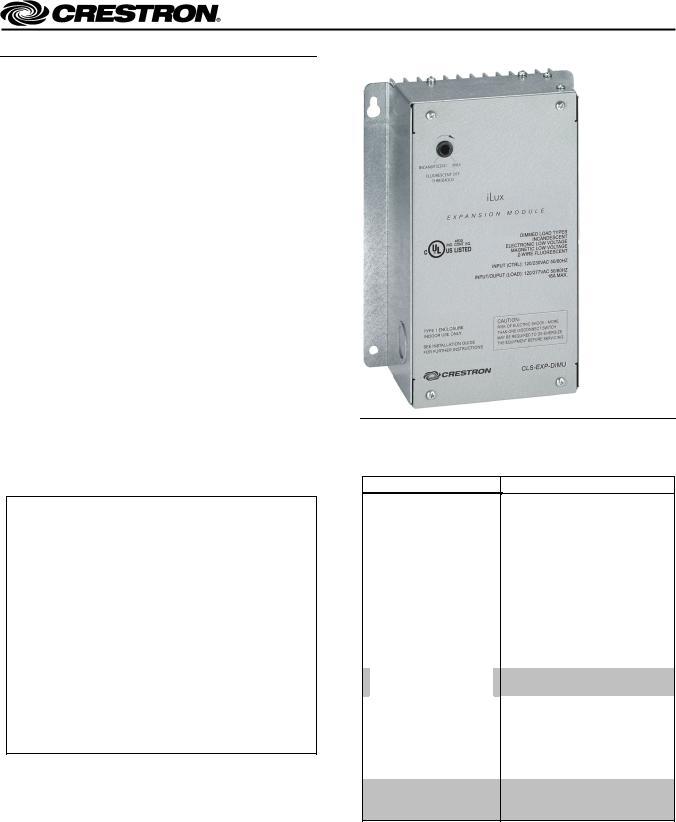 Crestron electronic CLS-EXP-DIMU, Crestron iLux CLS-C6 series User ManualManualMachine.com