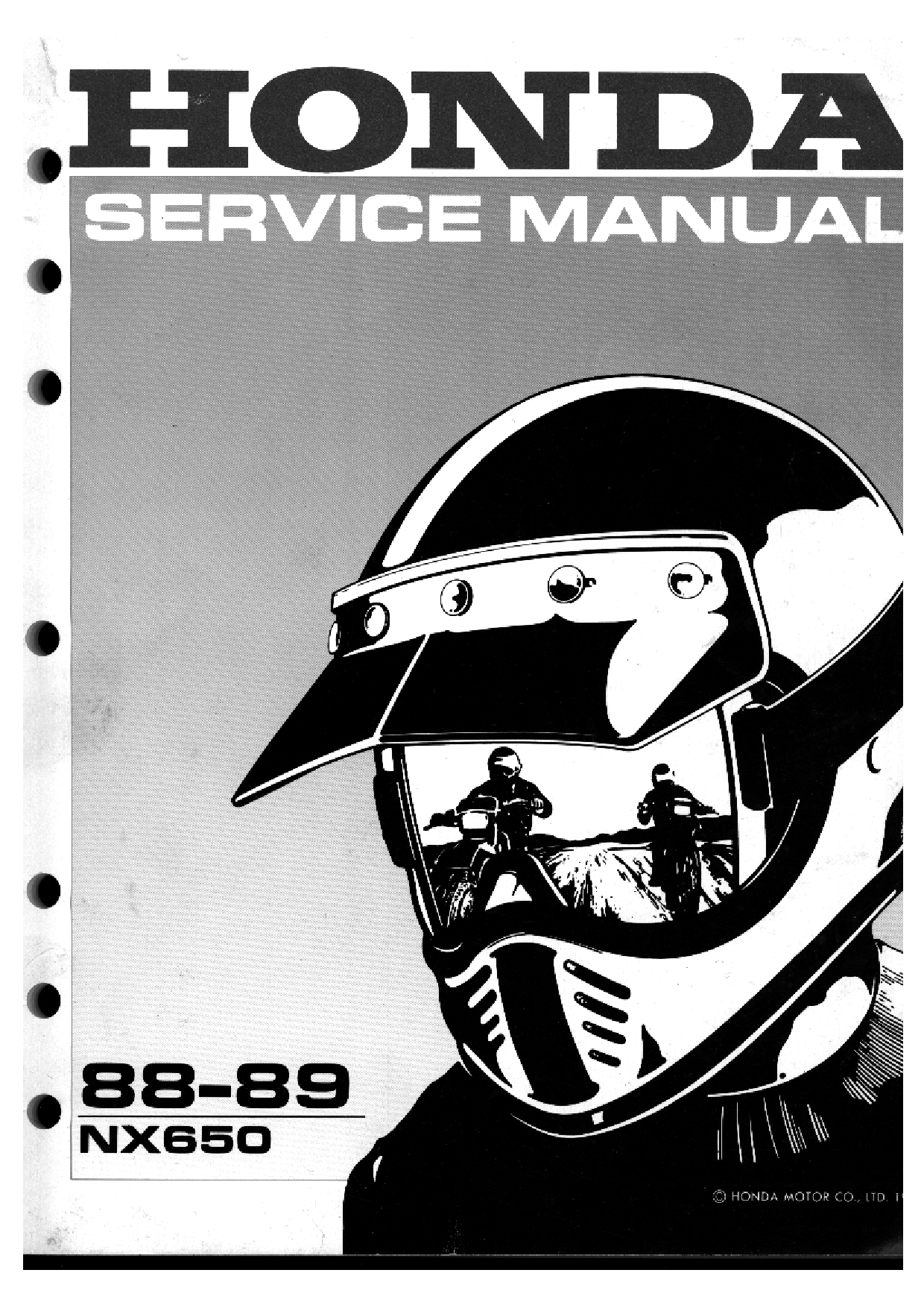 Honda 650 88 89 Nx 650 88 89 Nx650 1988 Nx650 1989 Service Manual A Section 1 Service Manual