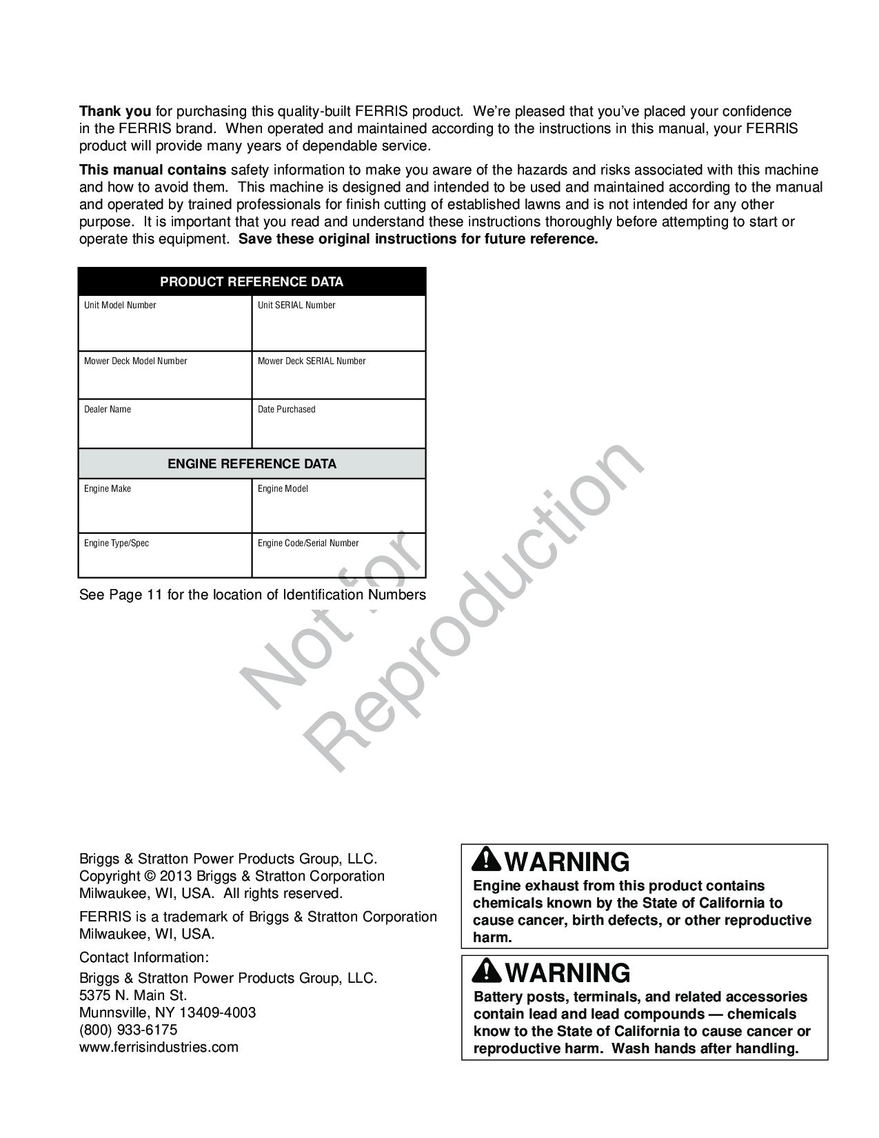 Ferris Engine Manual