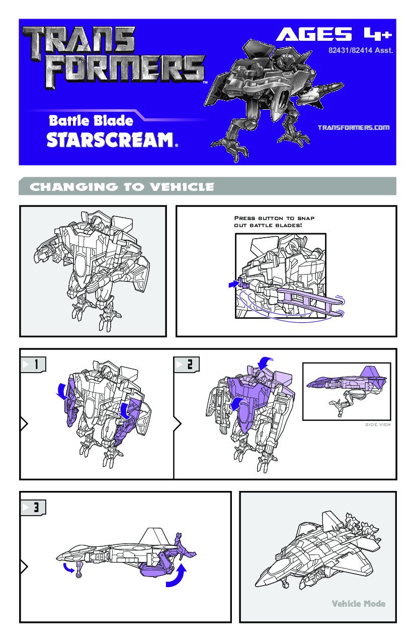 Hasbro Battle Blade Starscream 82431 Disc Blast Decepticon Frenzy 82414 User Manual