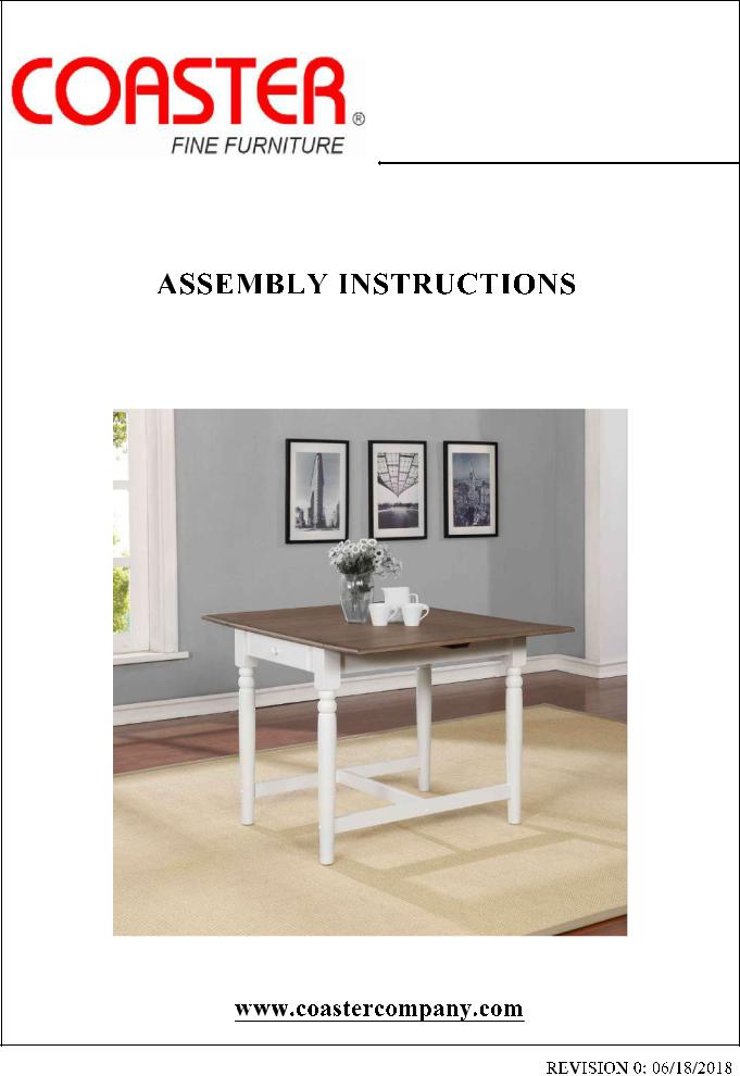 Coaster 123001 Assembly Guide, Coaster Fine Furniture Assembly Instructions