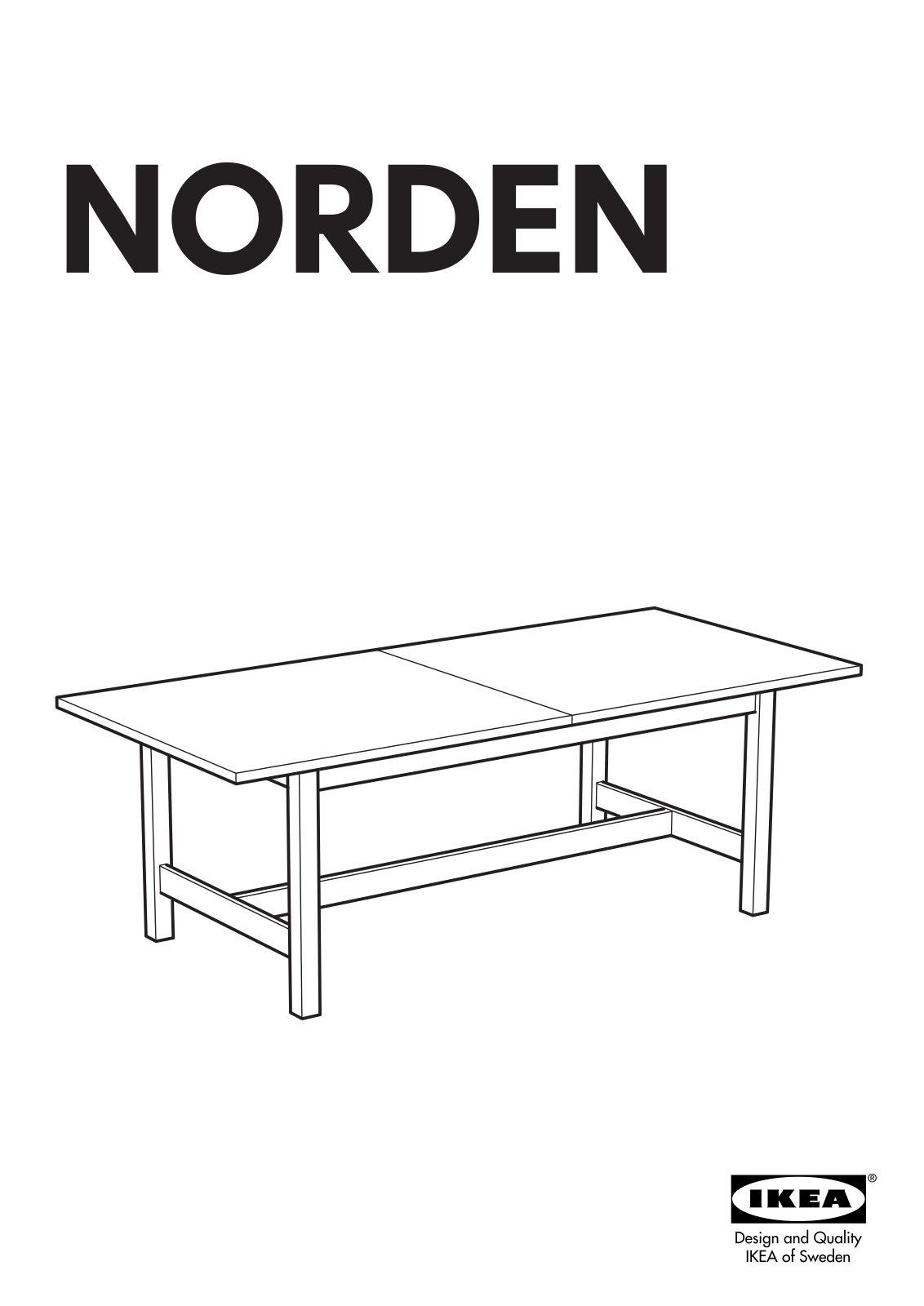 Ikea Norden 220x100x75 266x100x75 Dining Table 87 105x39 User Manual