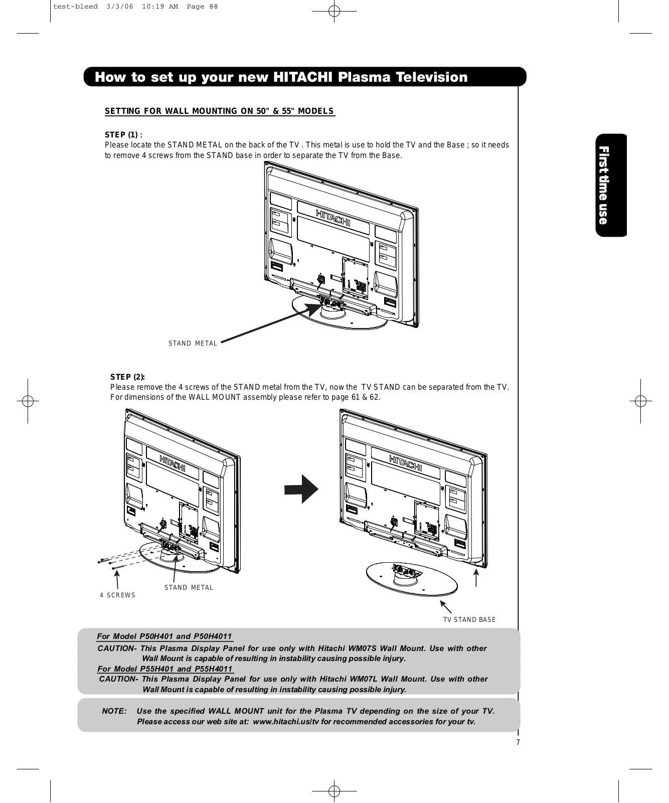 Hitachi P55h4011 P50h4011 P55h401 User Manual