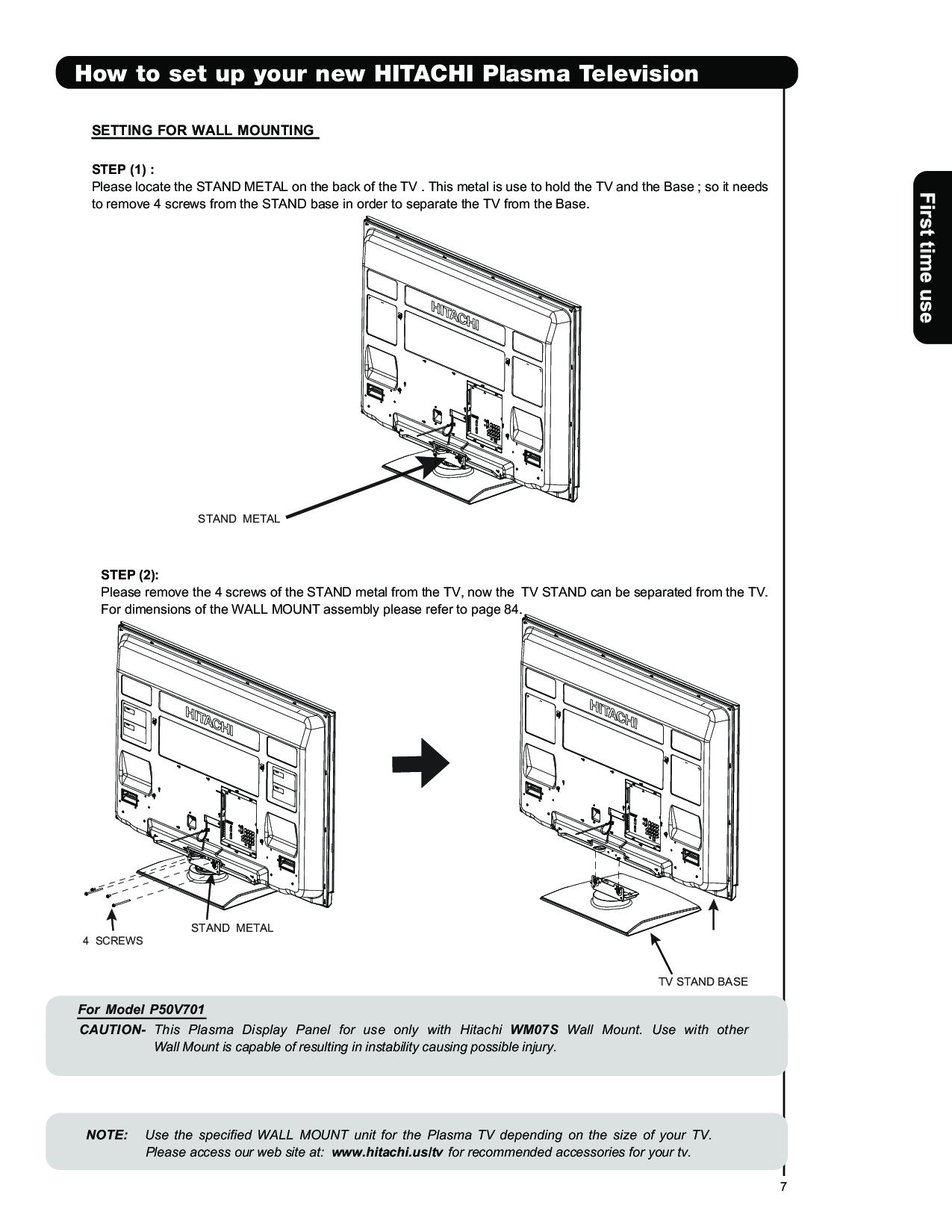 Hitachi P50v701 User Manual