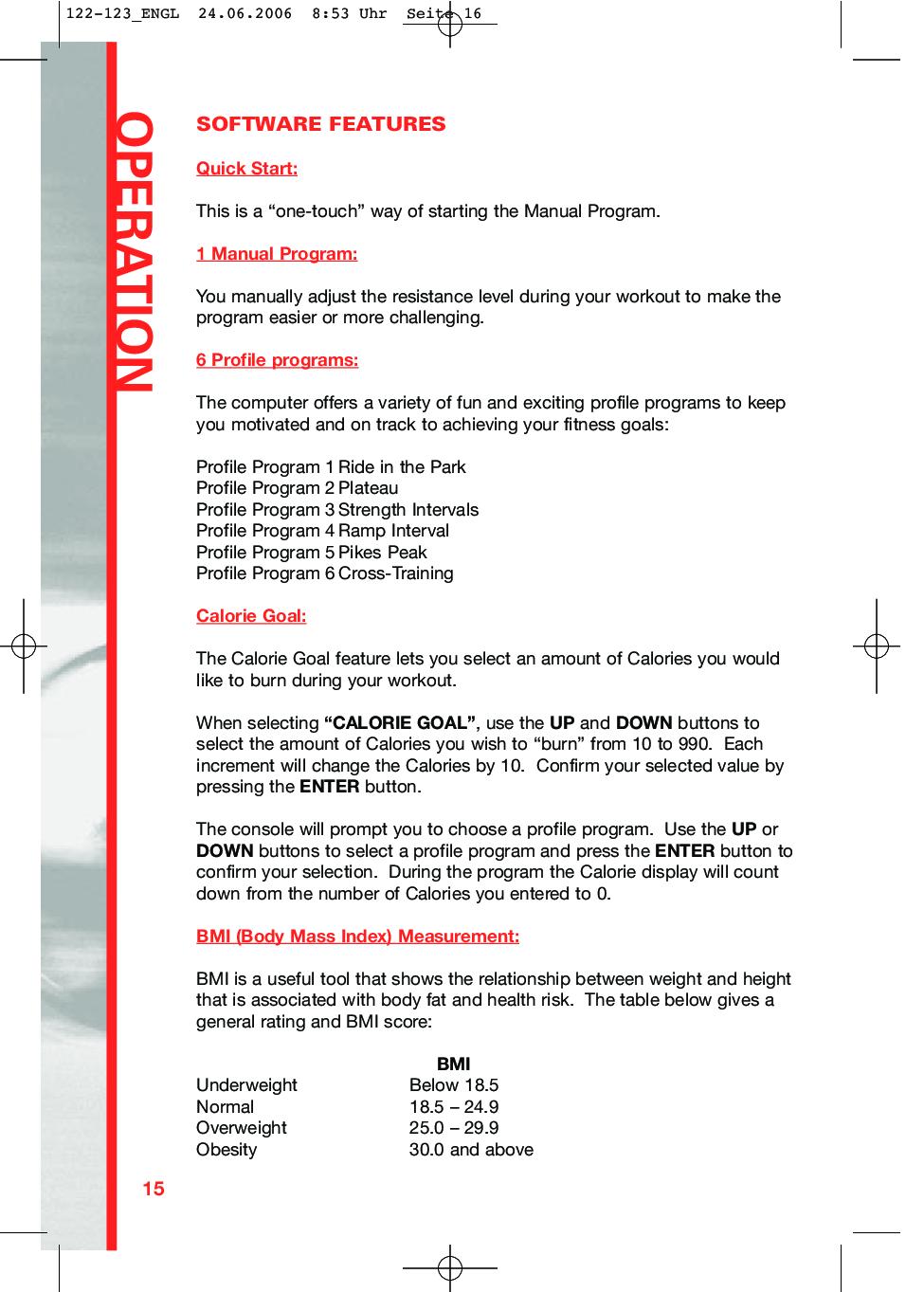 Schwinn Fitness 123 User Manual Manual Guide