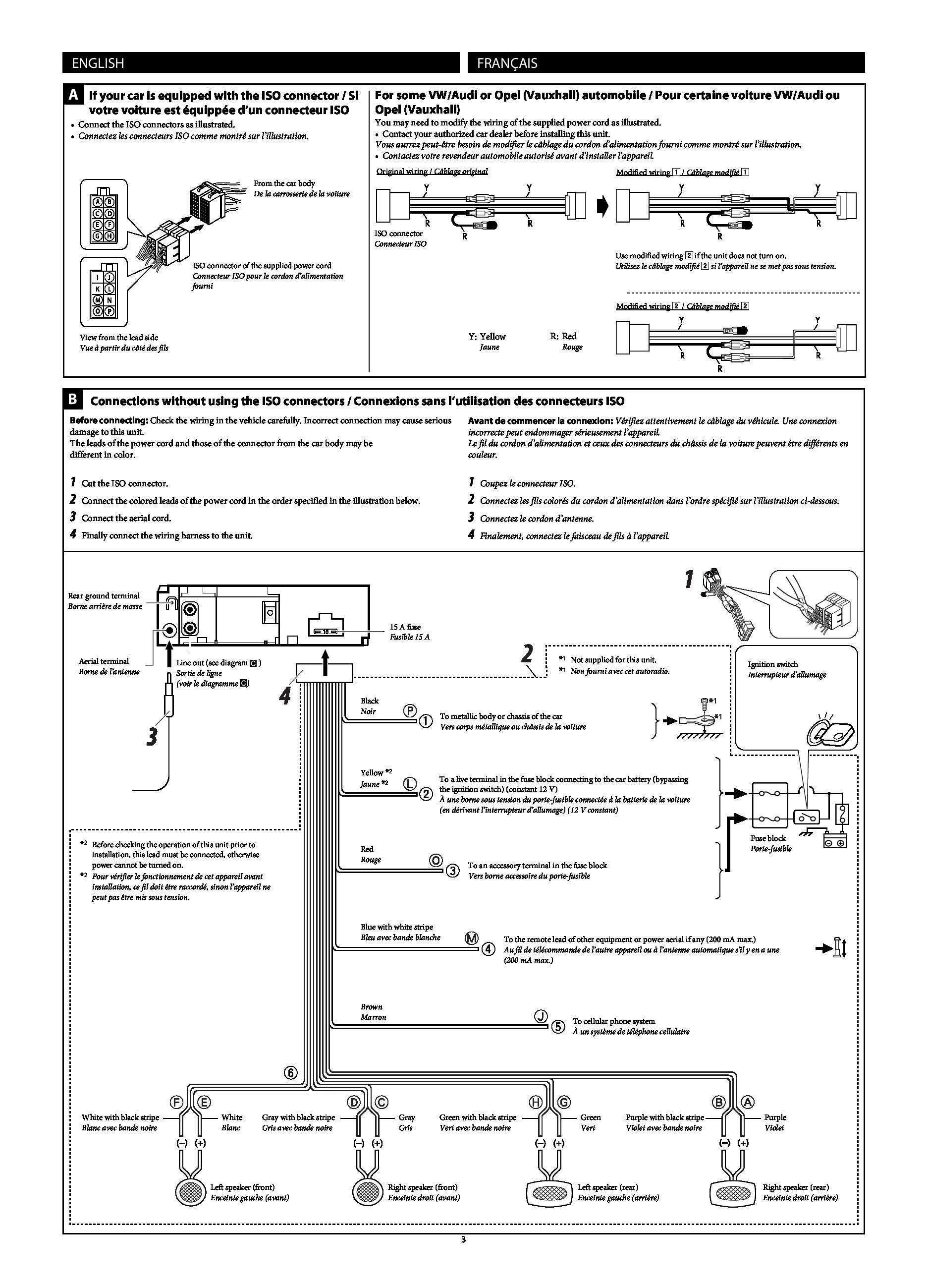 Cable ISO pour Autoradio JVC KD-R531